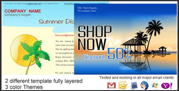 "Holiday/Summer Discount Sale Newsletter - 2styles - Preview screen of both ""Holiday Discount Sale"" and ""Summer Discount Sale"" Template.