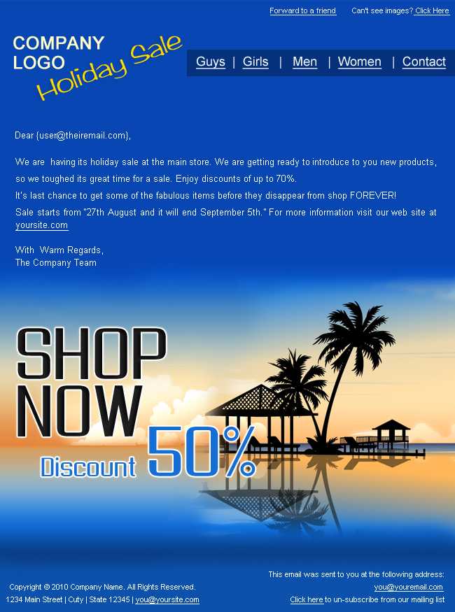 "Holiday/Summer Discount Sale Newsletter - 2styles - Screenshot1 of ""Holiday Discount Sale"" newsletter template.