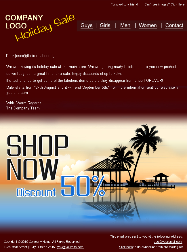 """Holiday/Summer Discount Sale Newsletter - 2styles - Screenshot2 of """"Holiday Discount Sale"""" newsletter template.  This is in brown color.  You can change the logo and other text as per your requirement. psd templates are easily customizable."""