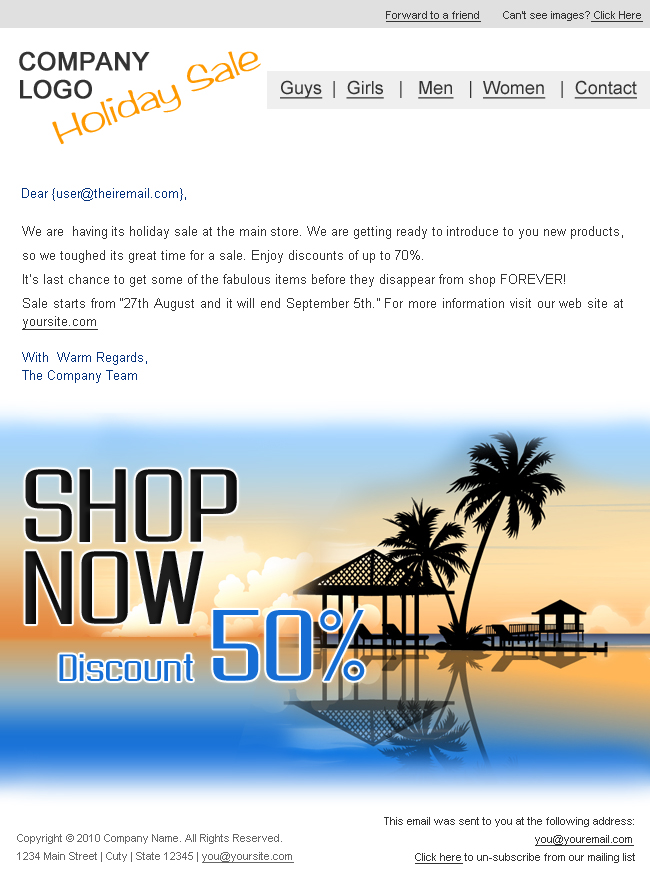 """Holiday/Summer Discount Sale Newsletter - 2styles -  Screenshot2 of """"Holiday Discount Sale"""" newsletter template.  This  is in white and grey color.  You can change the logo and other text as per your requirement. psd templates are easily customizable."""