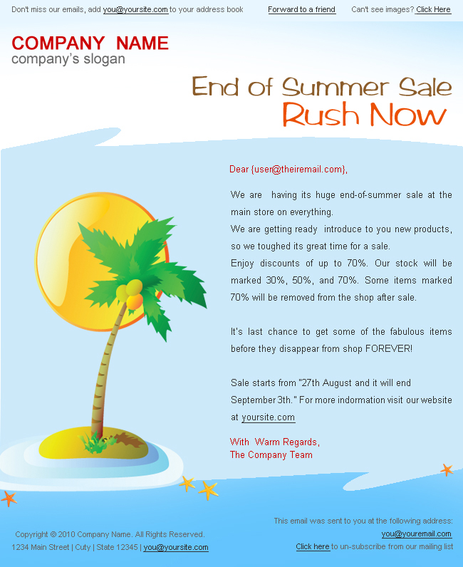"""Holiday/Summer Discount Sale Newsletter - 2styles - Screenshot1 of """"Summer discount sale"""" newsletter template.  This is in light blue color.  You can change the logo and other text as per your requirement. psd templates are easily customizable."""