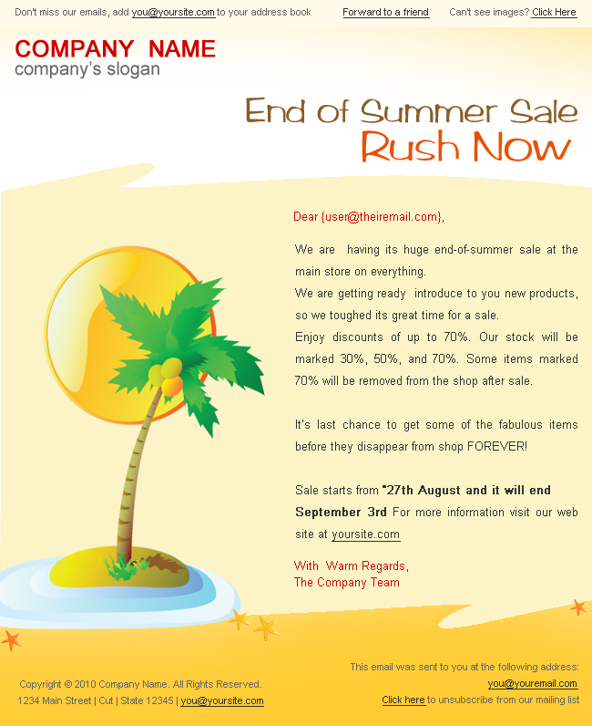 "Holiday/Summer Discount Sale Newsletter - 2styles - Screenshot3 of ""Summer discount sale"" newsletter template.