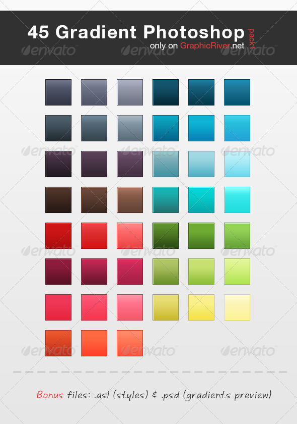 45 HQ Gradient Set for Photoshop - Pack 1 - Photoshop Add-ons