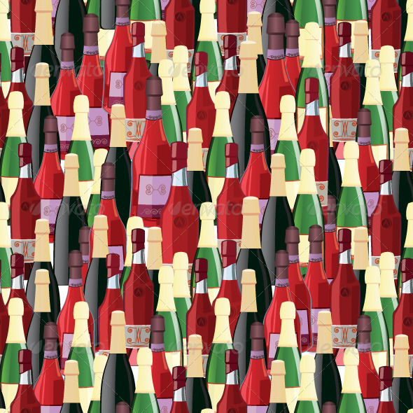 Bottles Seamless Pattern Vector Illustration - Textures / Fills / Patterns Illustrator