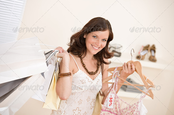 Fashion Shopping   Happy Woman Choose Sale Clothes - Stock Photo - Images