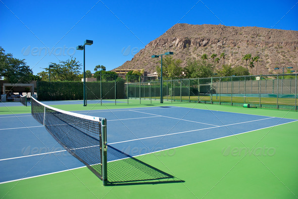 Resort's Blue Tennis Courts - Stock Photo - Images
