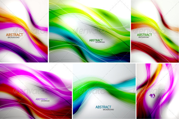 GraphicRiver Rainbow Vector Waves Backgrounds 2895053