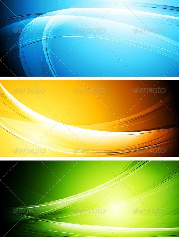Colourful wavy banners - Backgrounds Decorative
