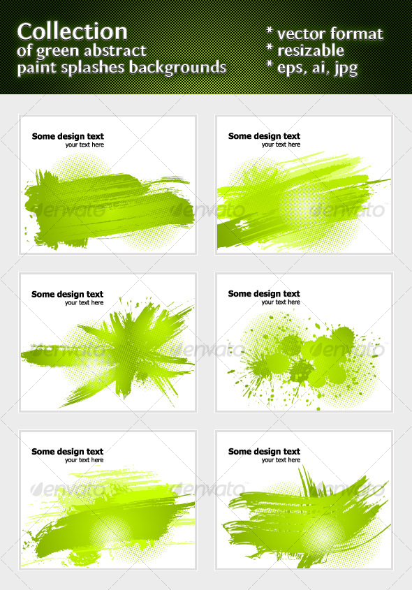 GraphicRiver Green abstract paint splashes illustrations 103937