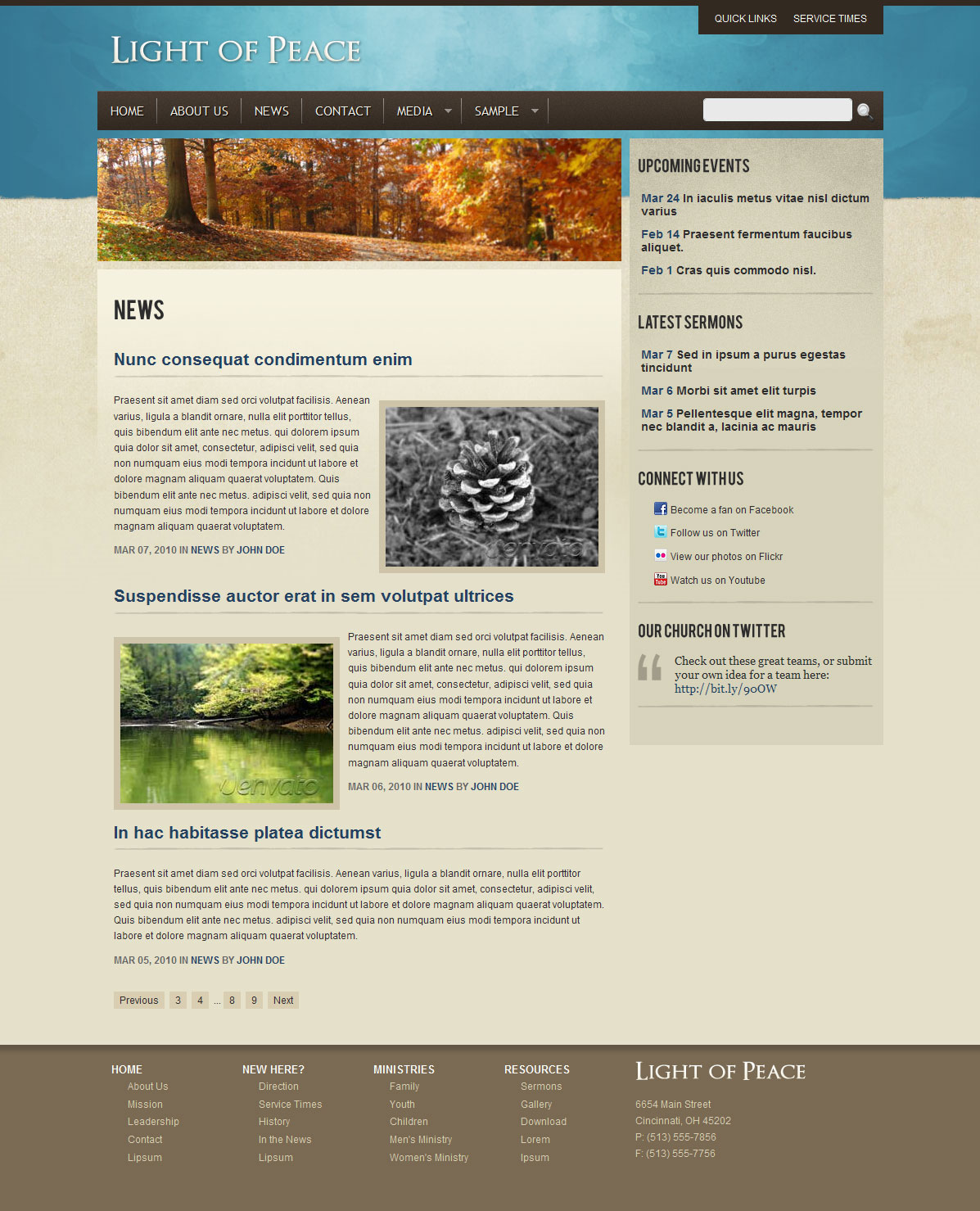 Light of Peace - This is a Blog style template. It can be used for News or Events page.