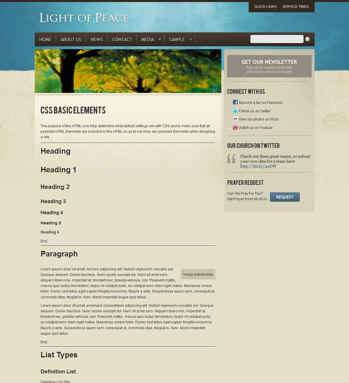 Light of Peace - This is the test page template to test all HTML element.
