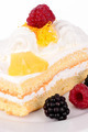 Cake with cream and raspberries. - PhotoDune Item for Sale