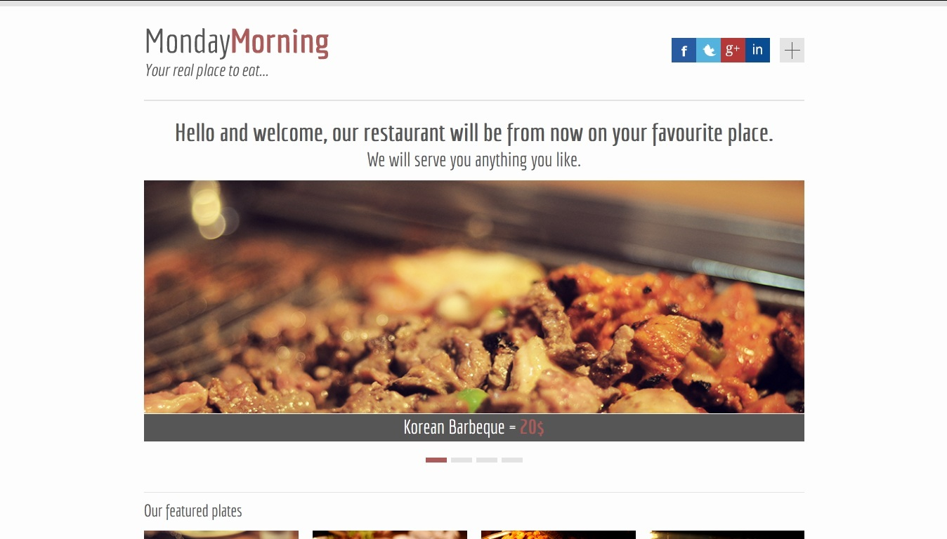 MondayMorning - Food Responsive Landind Page