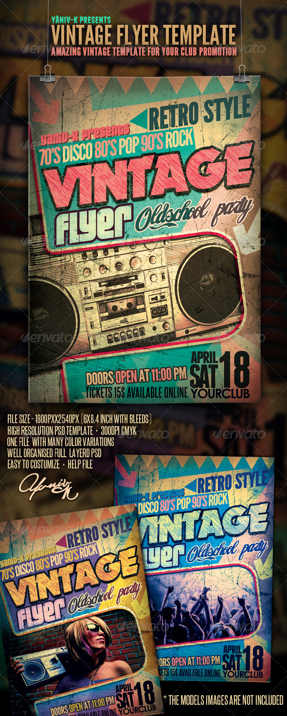 Vintage Flyer Template - Clubs & Parties Events