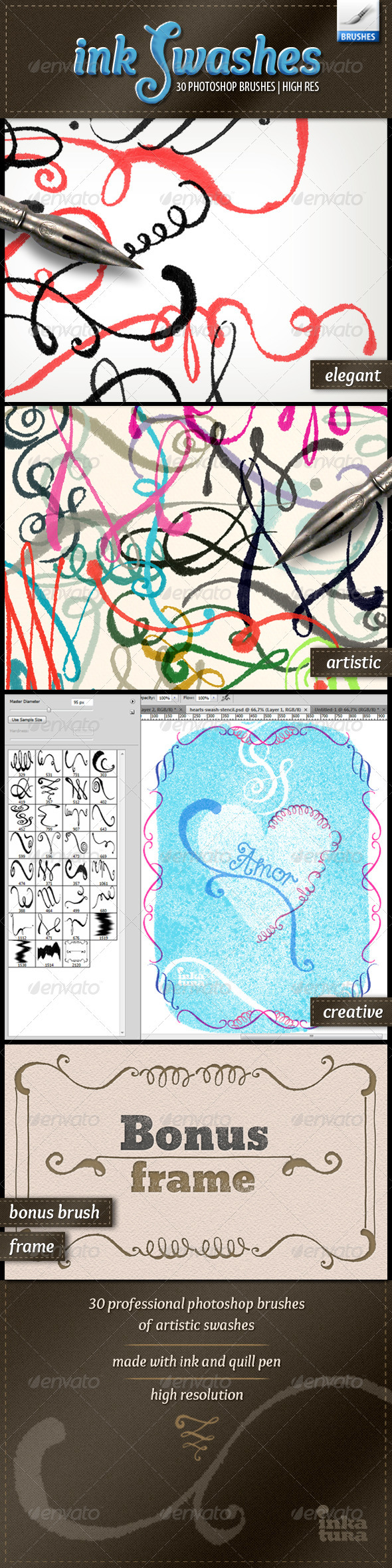 Ink Swashes Brushes - Flourishes Brushes