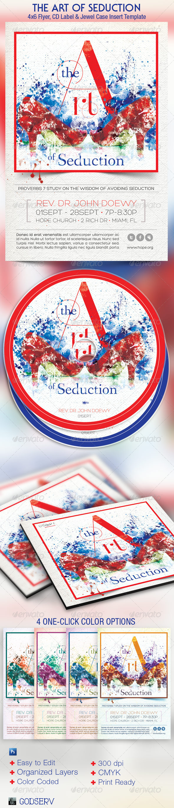The Art of Seduction Church Flyer and CD Template - Church Flyers