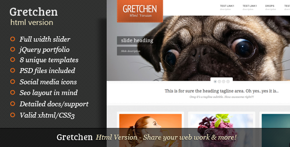 ThemeForest Gretchen Clean style easy to work with & unique 2902031