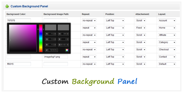 Custom Background Panel