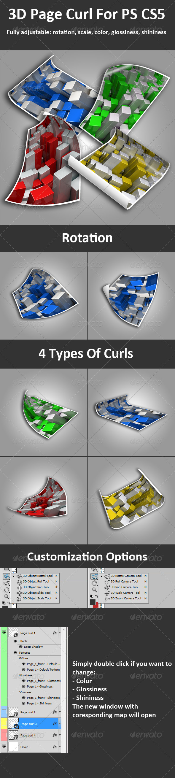 3D Page Curl For PS CS5 Full 3D Options