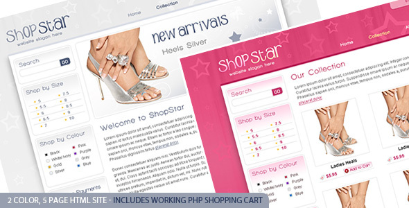 ThemeForest Shop Star 2 Color Template inc PHP Shopping Cart 104090