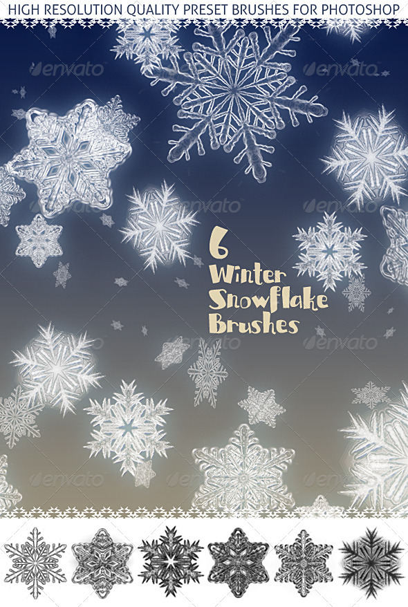 6 Snowflakes; Realistic Snow Crystal Effect - Miscellaneous Brushes