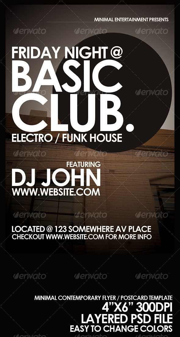 Minimal Flyer / Postcard Template - Clubs & Parties Events
