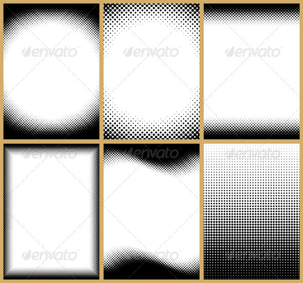 Halftone Frames - Borders Decorative