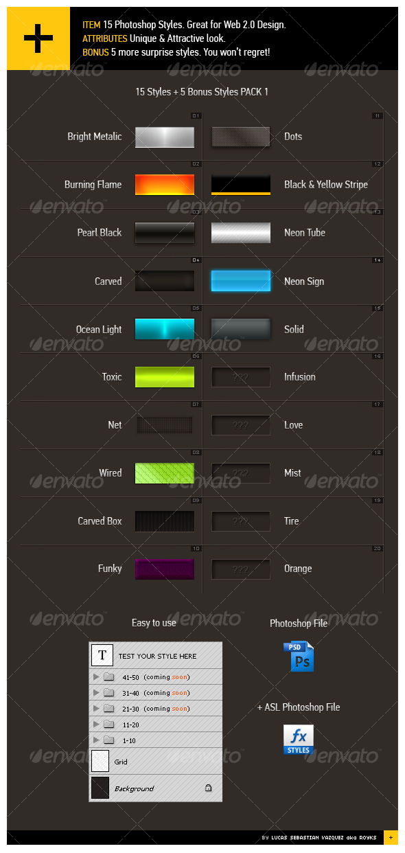 15+5 Web 2.0 Styles Pack 1 - Text Effects Styles