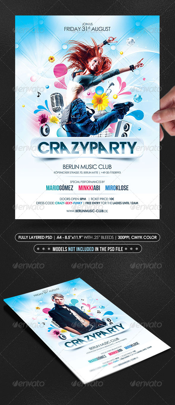Crazy Party Poster/Flyer - Clubs & Parties Events