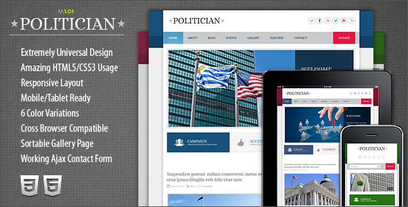 ThemeForest Politician Responsive HTML5 CSS3 Template 2758023