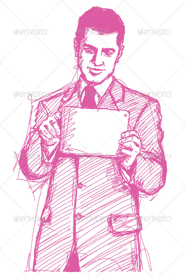 Sketch Businessman With Touch Pad