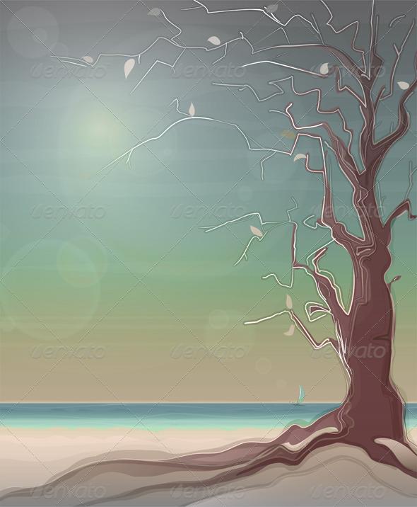 Autumn Sea Landscape with a Tree