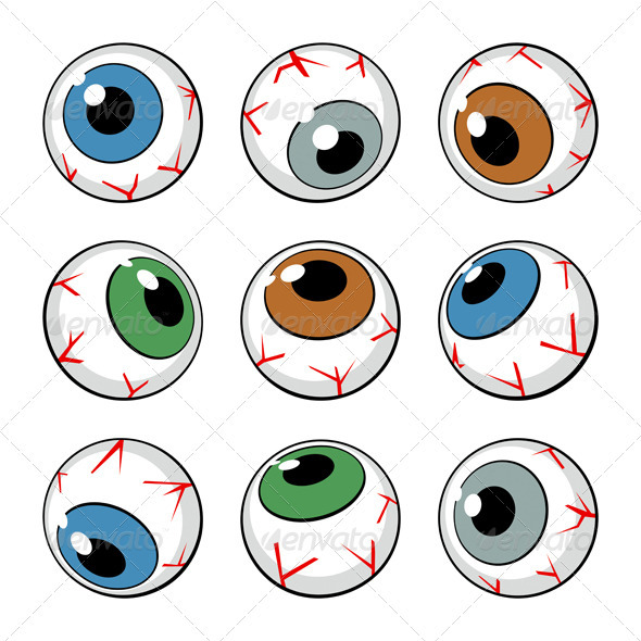 Set of Eyeballs on White Background - Miscellaneous Vectors