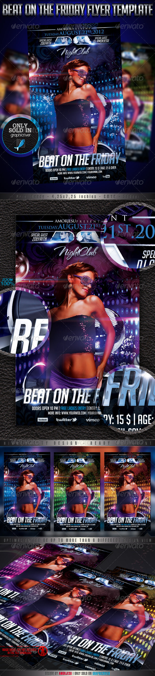 beat on the friday flyer template graphicriver. Black Bedroom Furniture Sets. Home Design Ideas