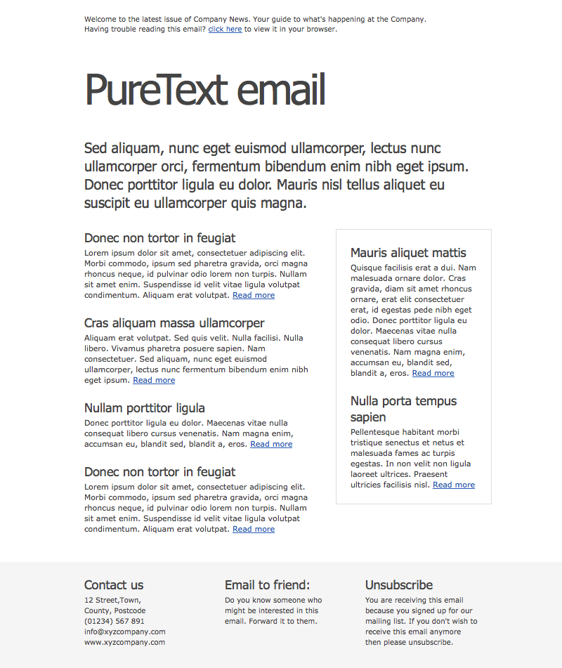 PureText Email Newsletter
