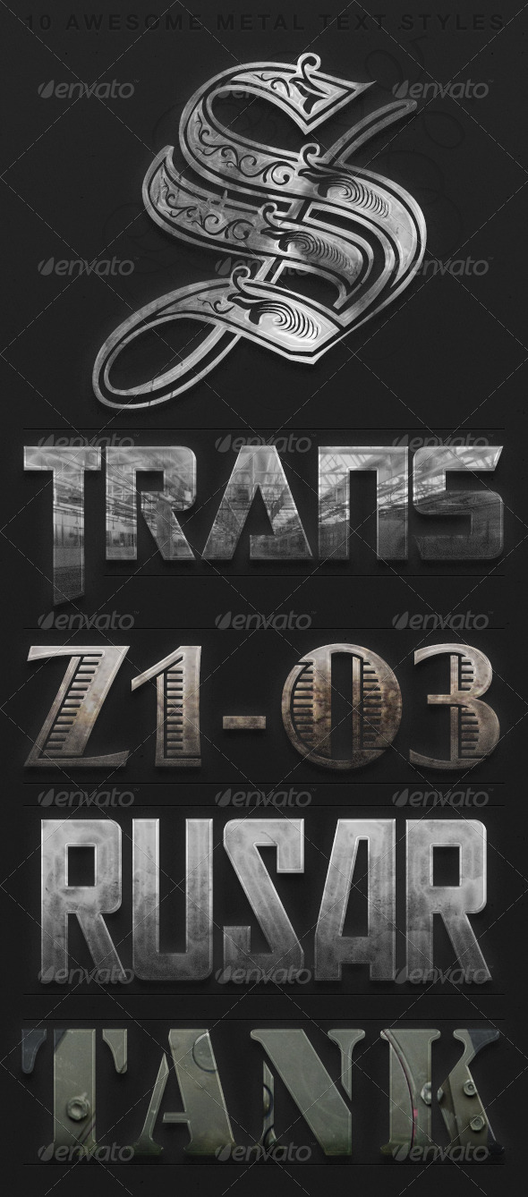 Metal Text Style Pack - Styles Photoshop