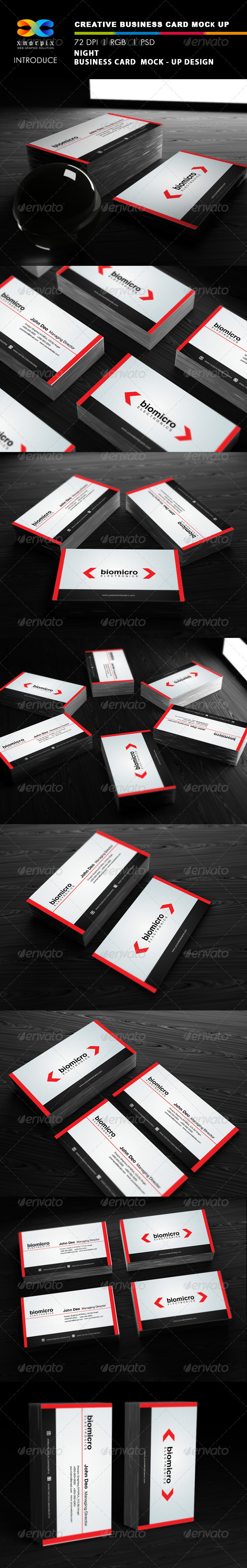 Night Business Card Mock-up - Business Cards Print