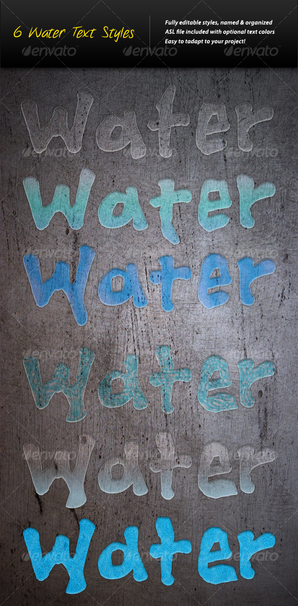 6 Water Text Styles - Text Effects Styles