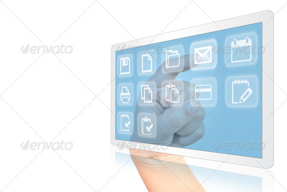 Hand pushing Button on touchscreen interface. - Stock Photo - Images
