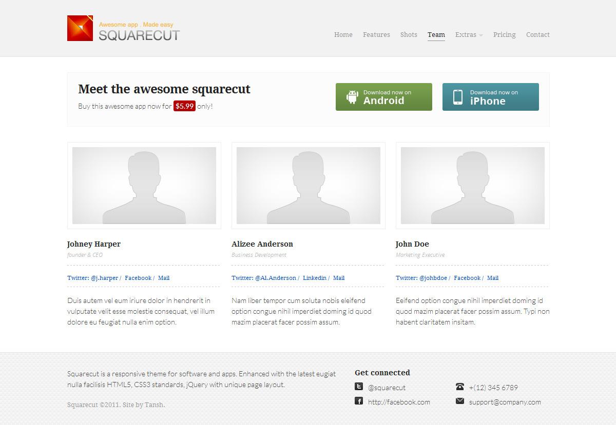 Squarecut Responsive Landing Page template