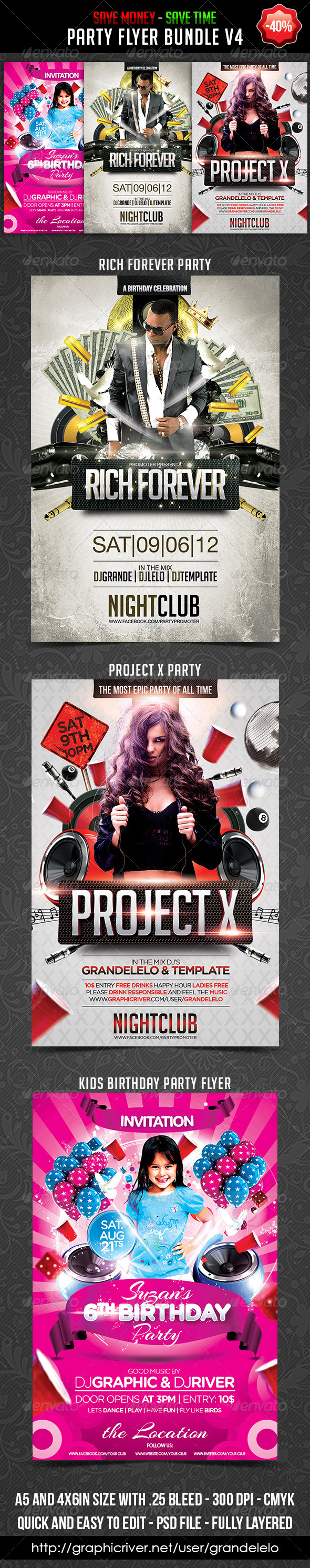 Party Flyer Bundle V4 by Grandelelo - Events Flyers