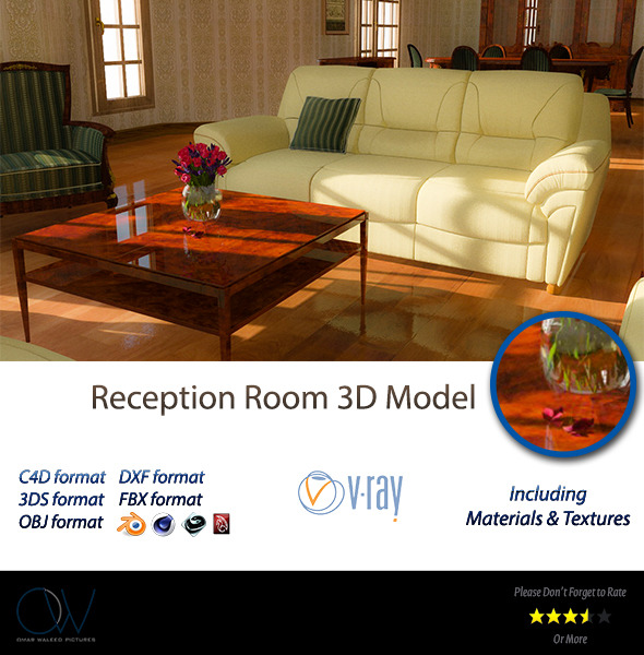 3DOcean Reception Room 3D Model 2913438