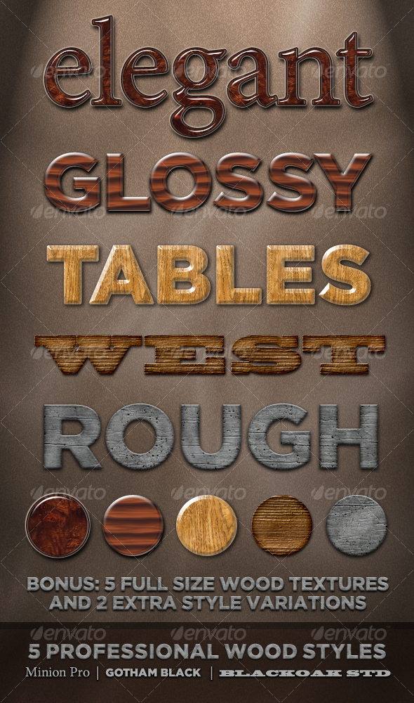 5 Professional Wood Styles - Text Effects Styles