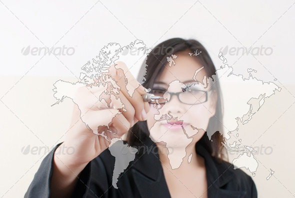 Business Lady write world map. - Stock Photo - Images