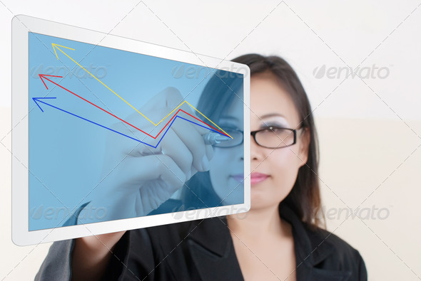 Business Lady write finance graph. - Stock Photo - Images
