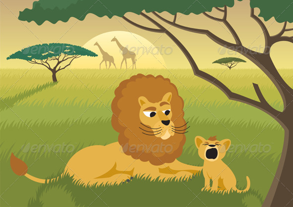 Graphic River Lions in the Wild Vectors -  Characters  Animals 94040