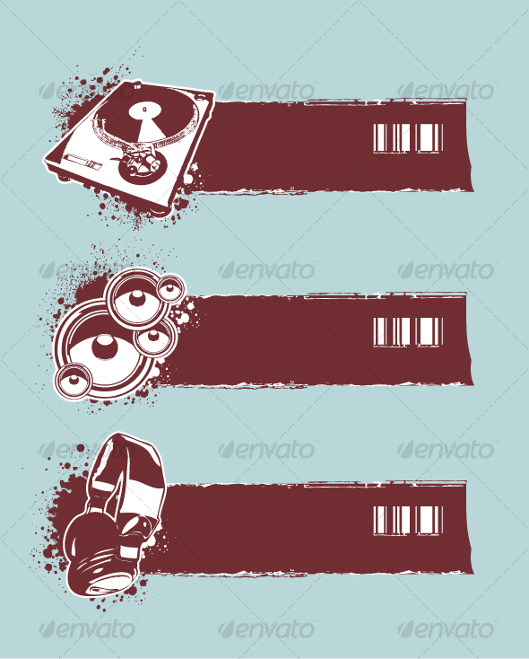 Set of musical grunge banners - Decorative Symbols Decorative