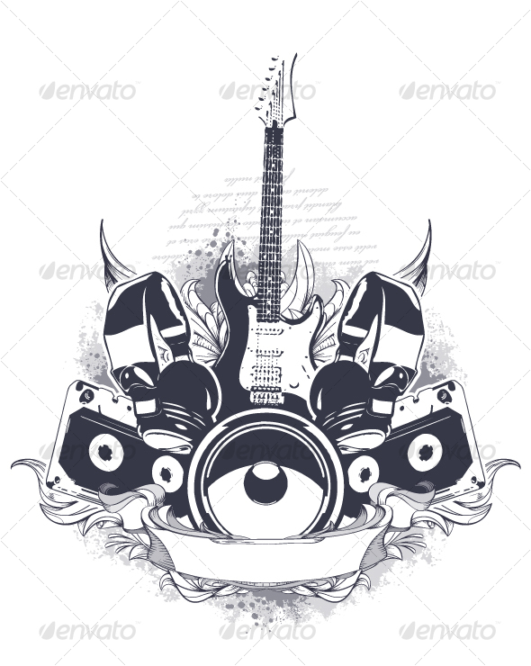 Musical grunge elements - Decorative Symbols Decorative