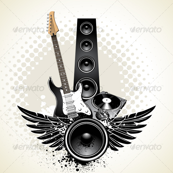 GraphicRiver Speaker with wings and instruments 104569