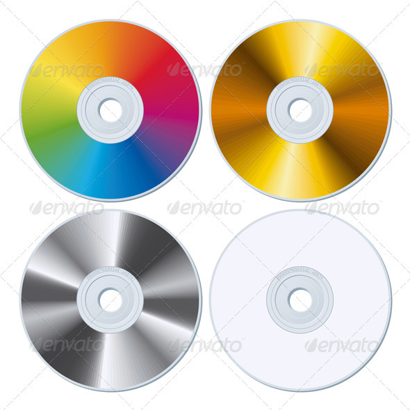 Set of Four Blank CDs - Miscellaneous Vectors